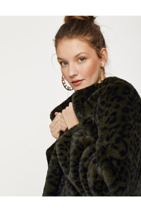 Faux Fur Jacket  | Green Tiger Print