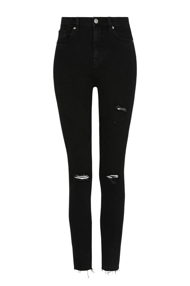 Cropped High-Waist Skinny Jeans | Denim Black (HHU)