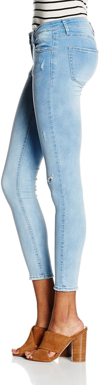 Mid Waist Skinny Jeans | Light Blue Wash