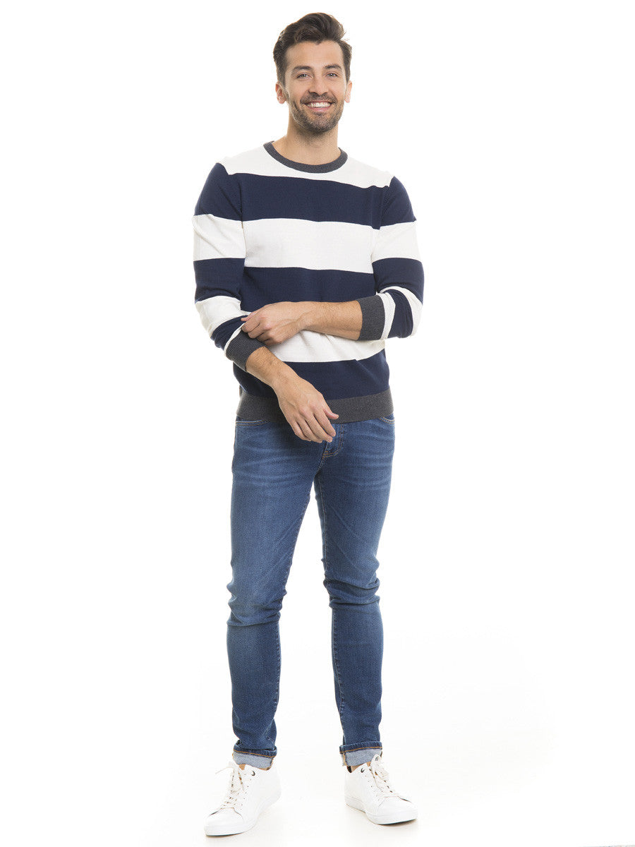 Sweater with Stripes | Navy