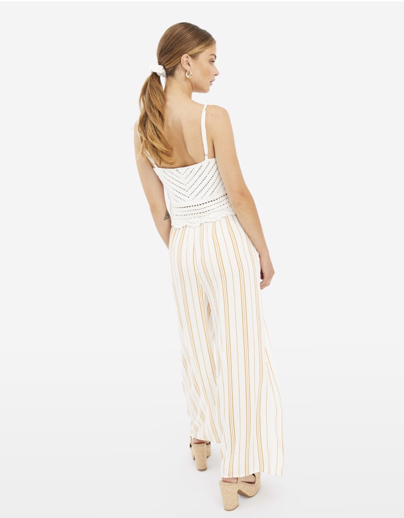 Wide Leg Trousers | White-Yellow Stripped