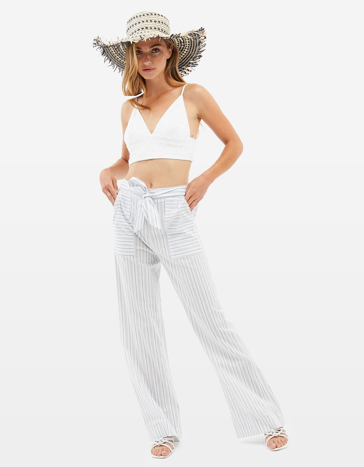 Striped Wide Leg Trousers | White-Blue Stripped