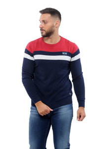 Sweater with Stripes | Dark Navy with Red