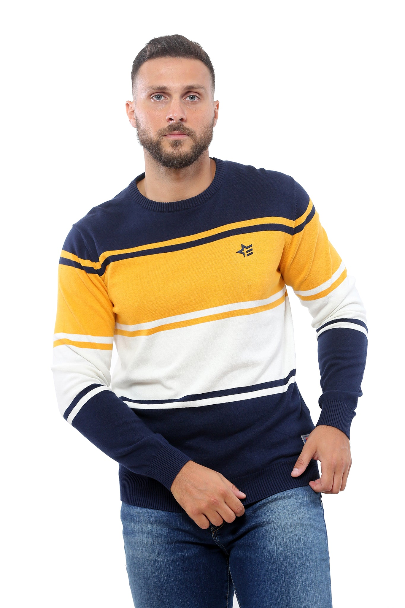 Sweater with Stripes | Dark Navy with Mustard and White
