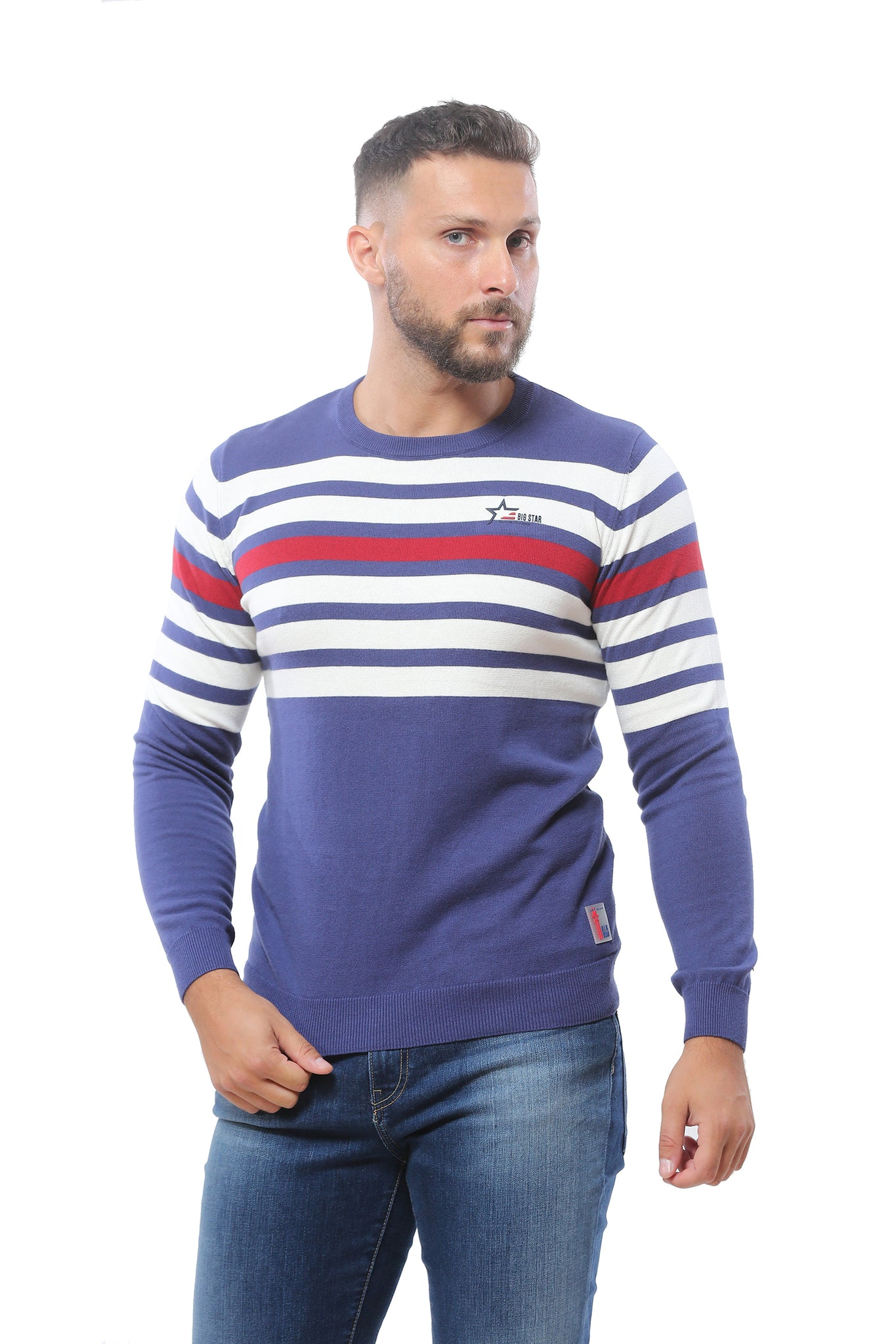 Sweater with Stripes | Blue and White