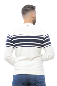 Sweater with Special Knitting | White with Navy