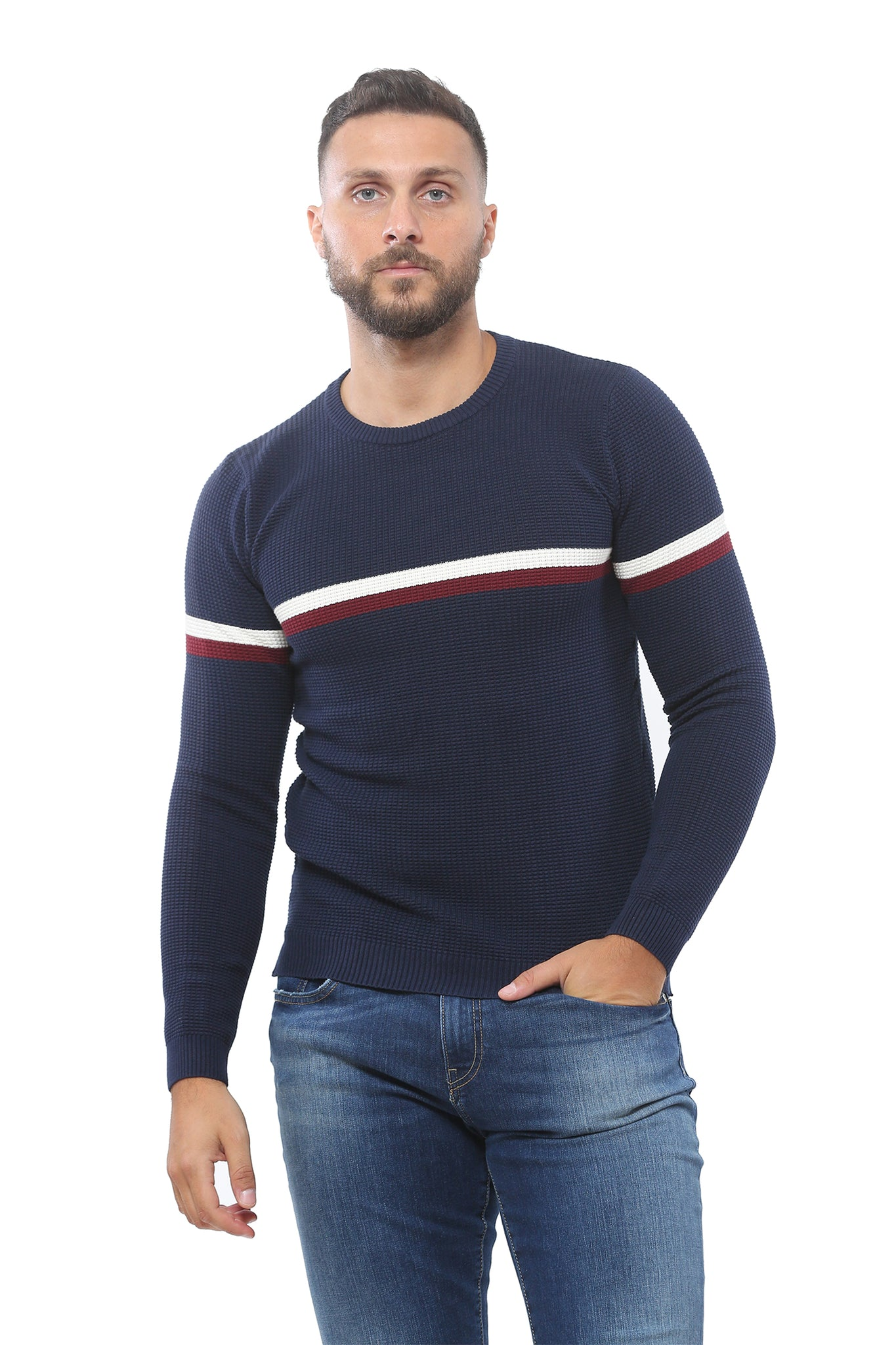 Sweater with Special Knitting | Dark Navy