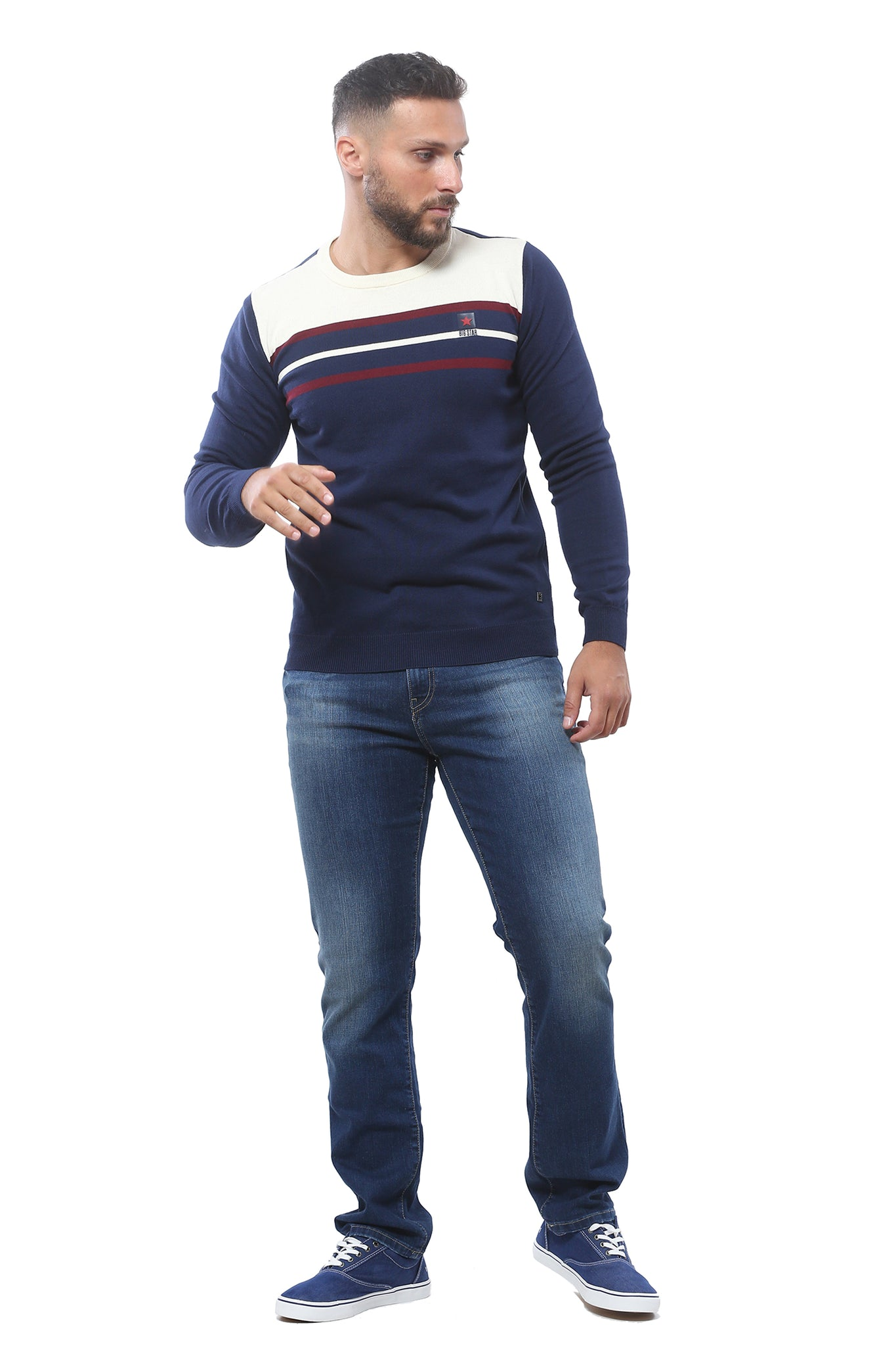 Sweater with Stripes | Dark Navy