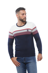 Sweater with Stripes | Dark Navy with White and Red