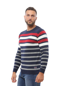 Sweater with Stripes | Dark Navy with Red and White