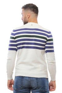 Sweater with Stripes | White with Blue