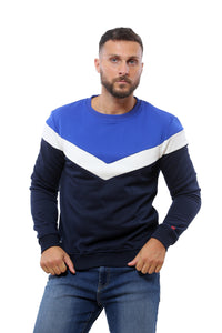 Trendy Sweatshirt | Dark Navy White and Royal Blue