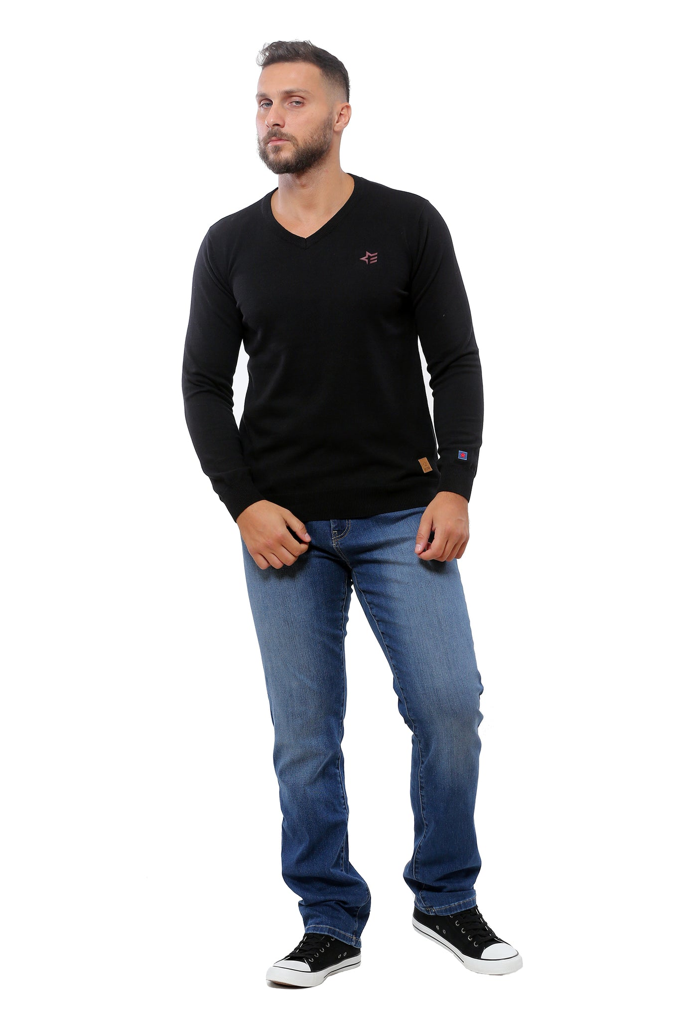 Basic Sweater V-Neck | Black