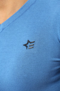 Basic Sweater V-Neck | Light Royal Blue