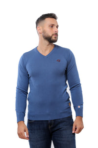 Basic Sweater V-Neck | Petrol Blue