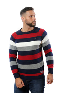 Sweater with Stripes | Navy with Red