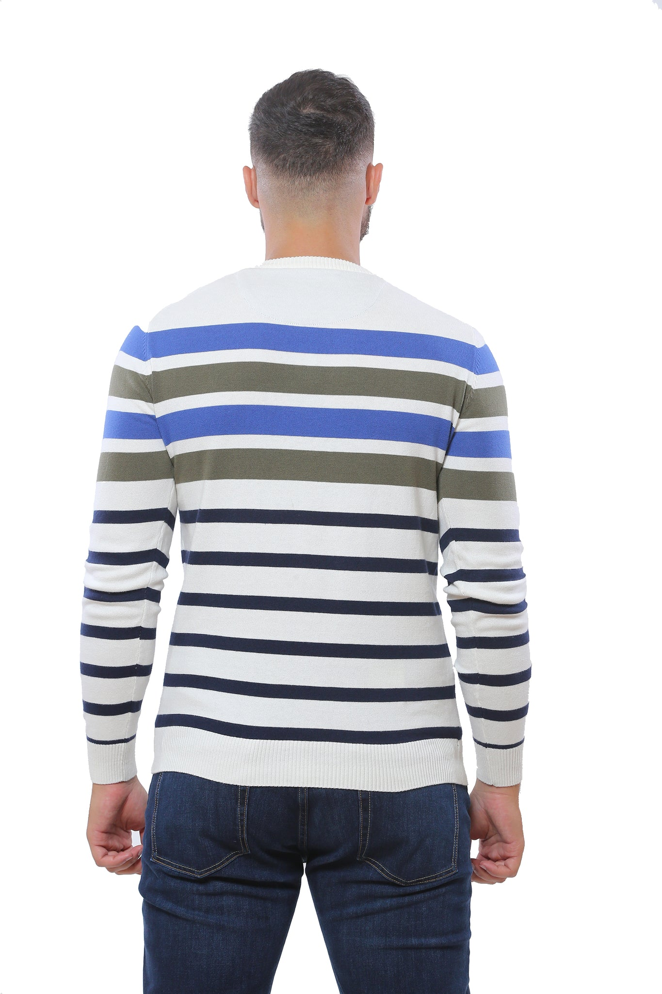 Sweater with Stripes | White with Green and Blue