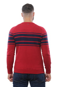 Sweater with Special Knitting | Red with Navy