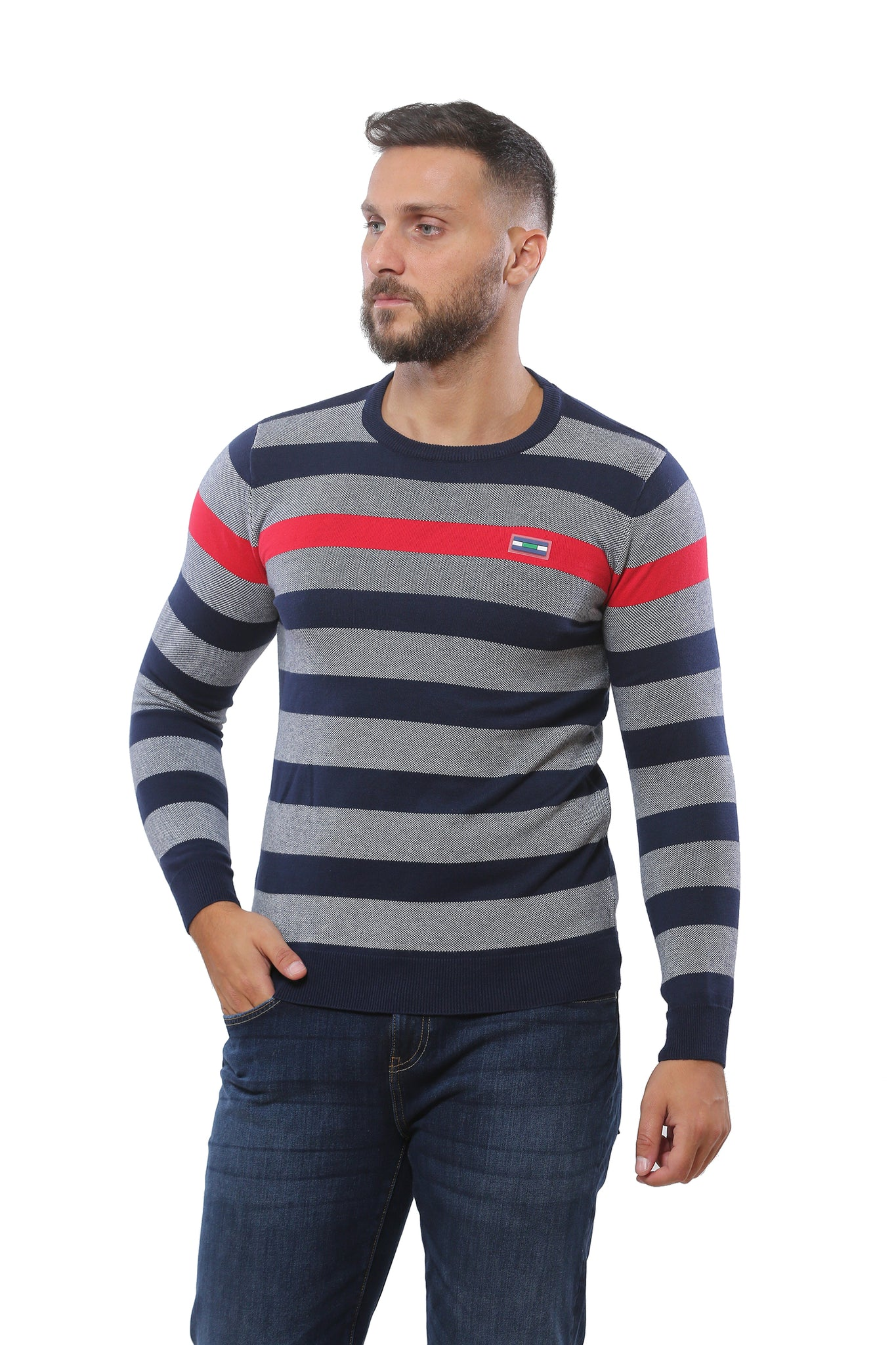 Sweater with Stripes | Dark Navy with Heather Grey