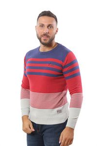 Sweater with Stripes | Red with Indigo and Heather Grey