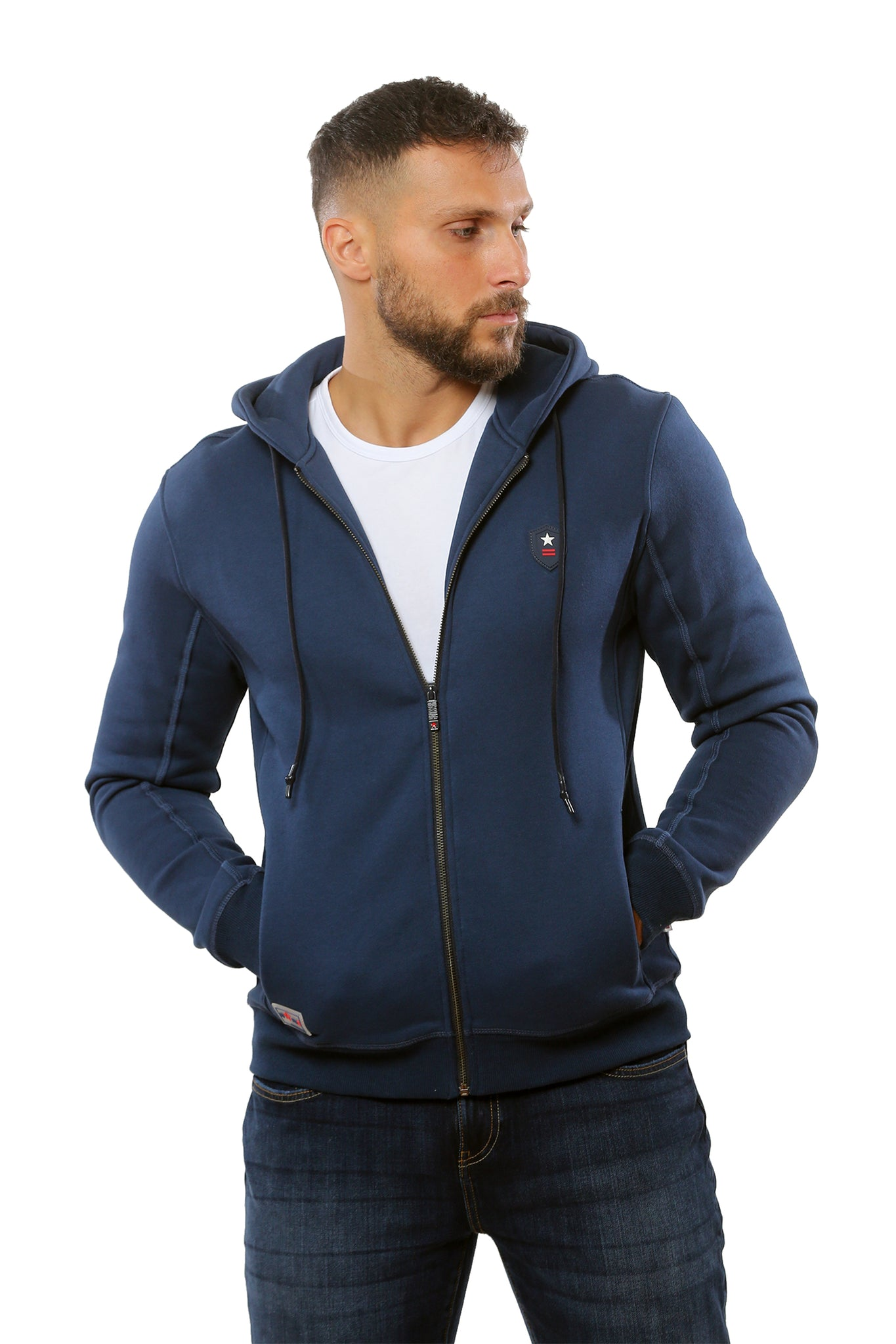 Hooded Sweatshirt with Full Zip | Blue