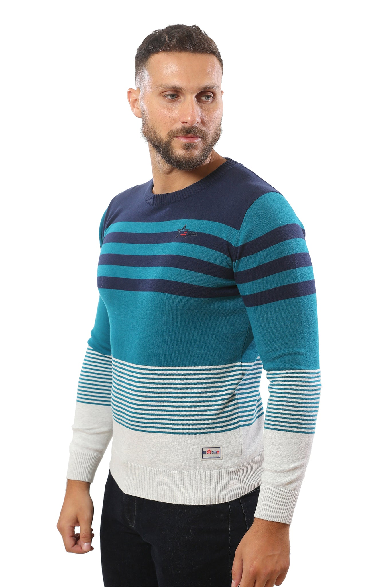 Sweater with Stripes | Blue Sapphire with Navy and Heather Grey