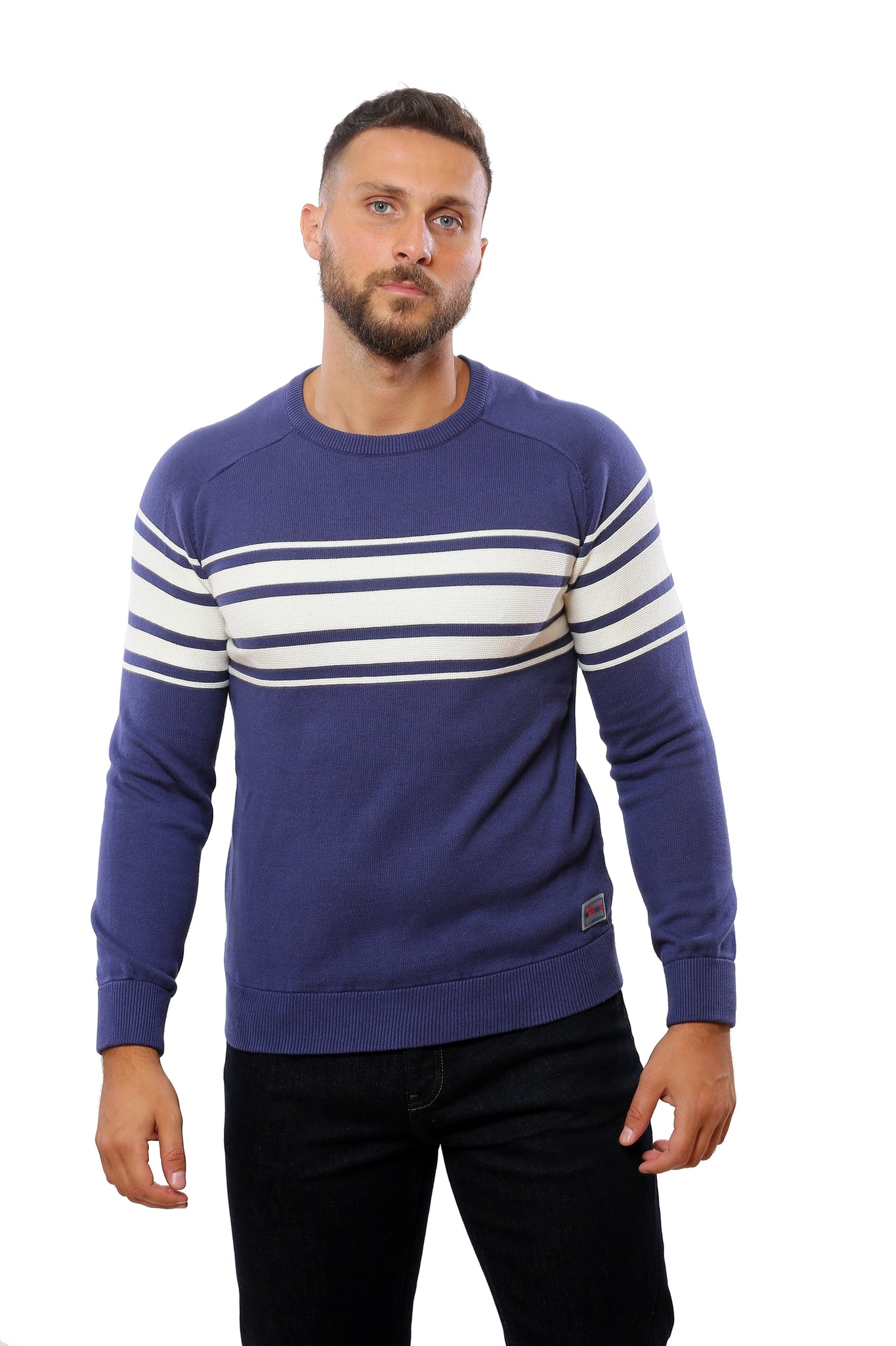 Sweater with Special Knitting | Blue with White