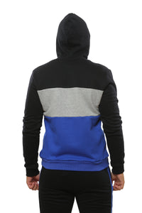 Hooded Sweatshirt | Black with Royal Blue and Grey