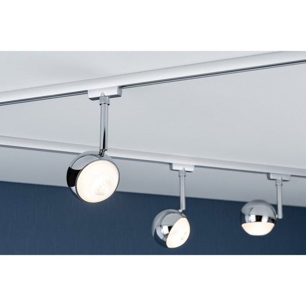 Spots et suspensions pour rail led Capsule métal Chrome