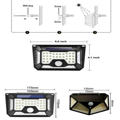 Applique led solaire detection de mouvement mural 66 led