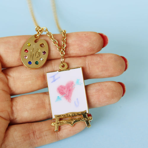 Artist painting easel & gemstone palette necklace *WAS £15*