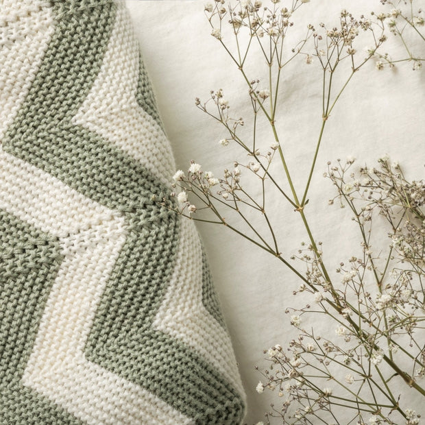 Organic Baby Blanket Bundle - Honey & Sage Chevron Knit