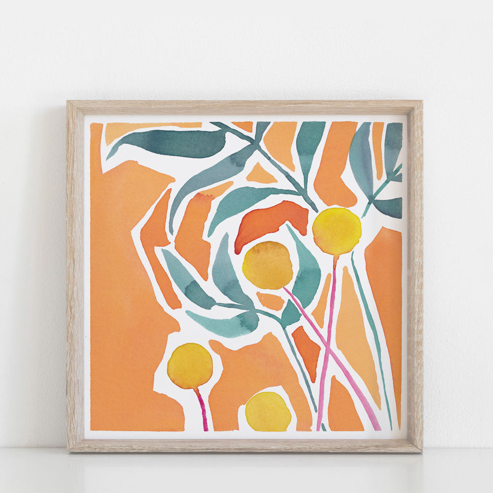 'Marmalade Afternoon' — Vibrant Abstract Square Wall Art