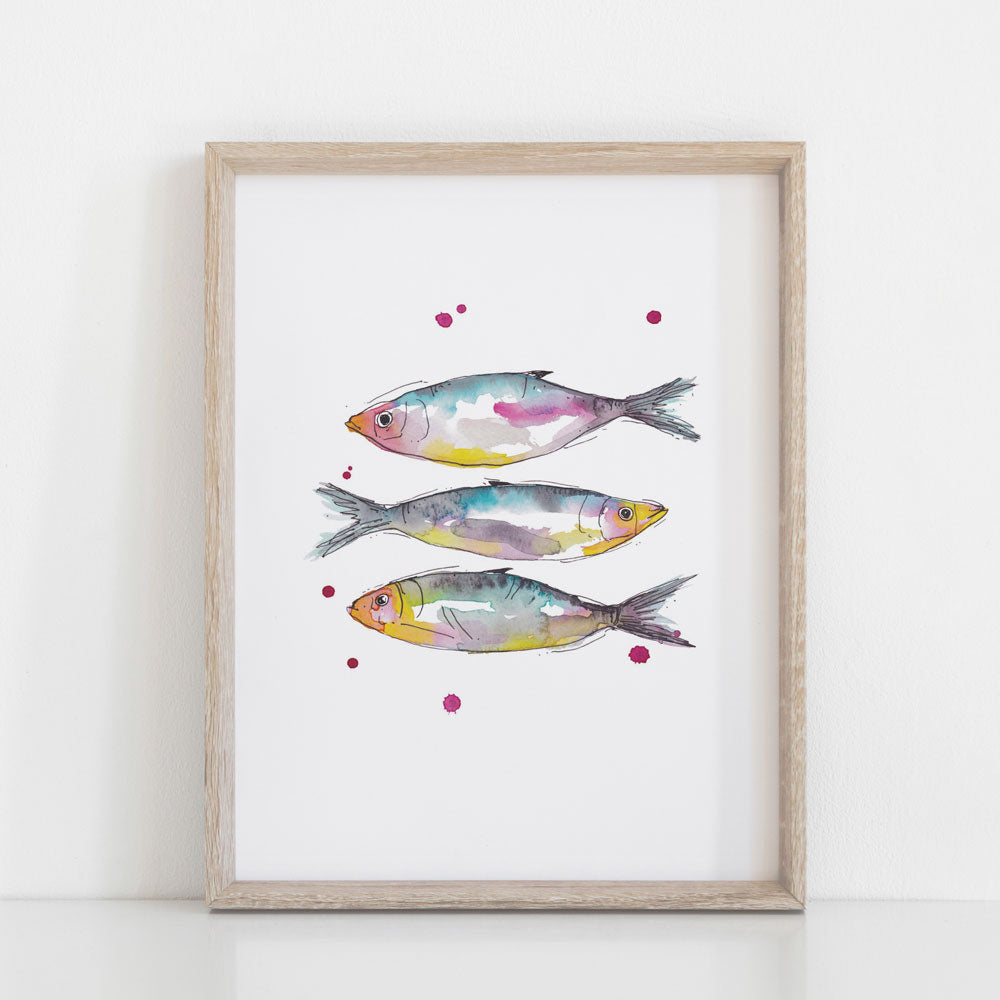 'Three fish' — Colourful Watercolour Art Print