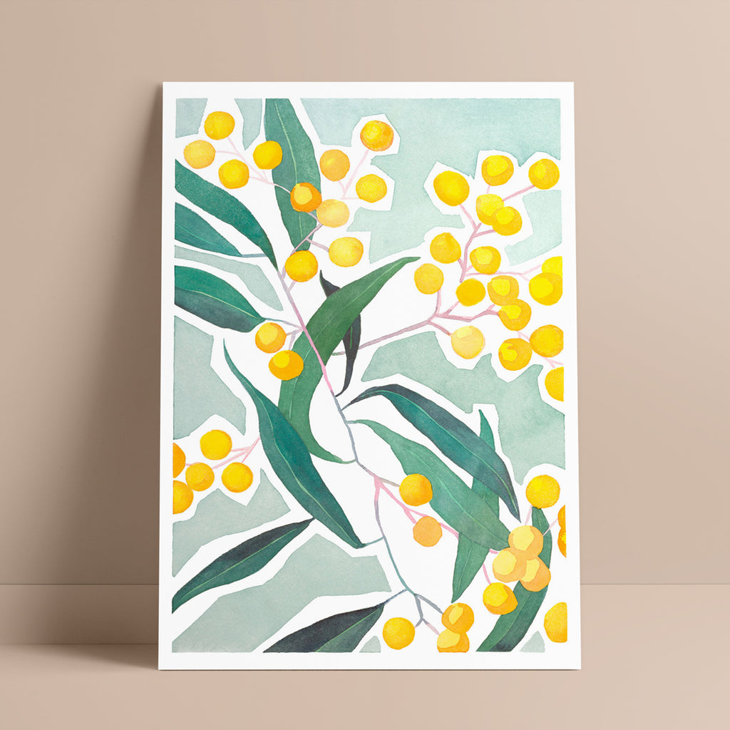 'Finding Joy' — Yellow Wattle Botanical Wall Art