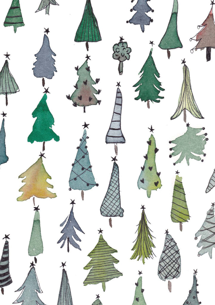 Christmas Trees — set of 10 luxury greeting cards