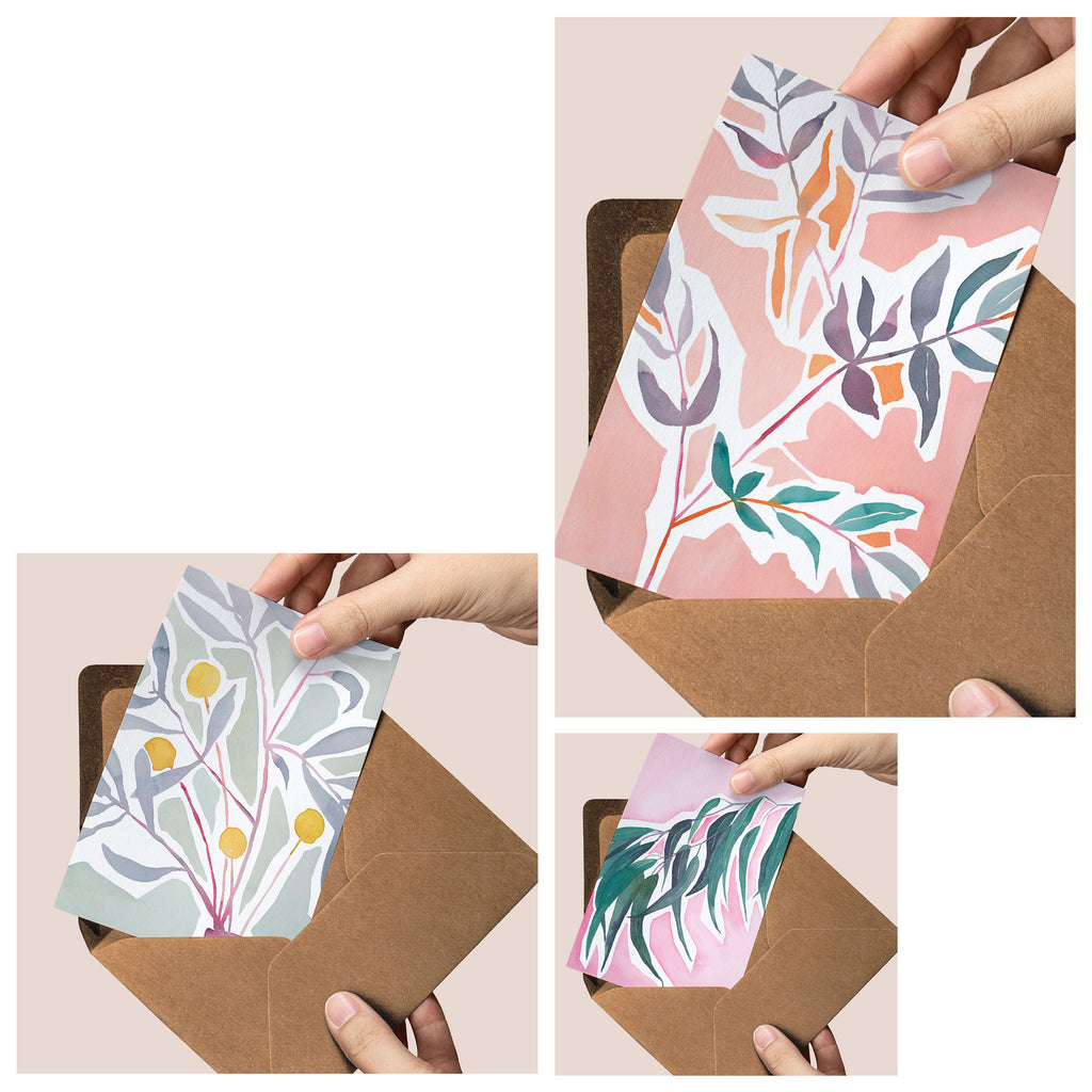 The Pastels — set of three luxury greeting cards
