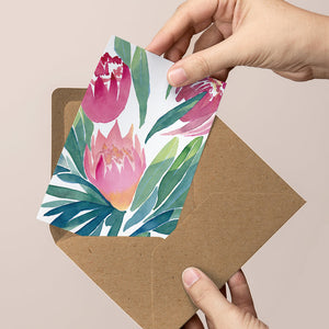 'Winter Protea' — Beautiful floral greeting card