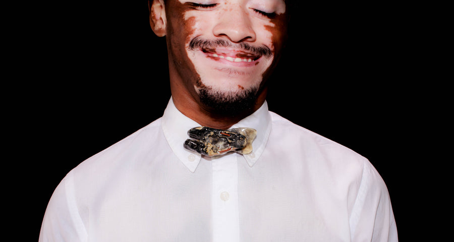 Boysterous Oyster Shell Bow Tie; SubtleTie; Brackish Bow Ties; Feather Bow Ties; Leather Bow Ties; Unique Bow Ties