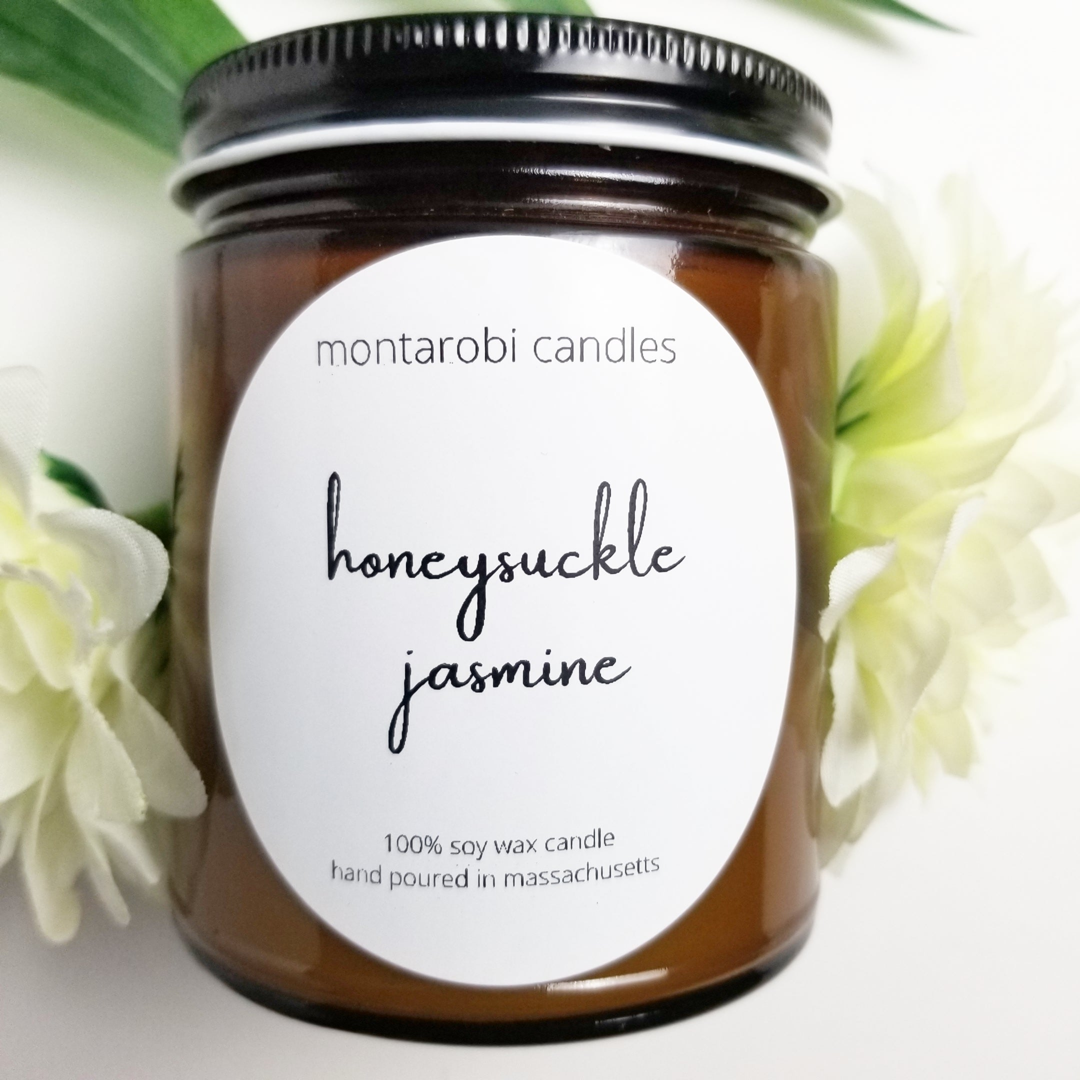Soy Clean Burning Handmade Honeysuckle Jasmine Candle 100/% Recycled Glass
