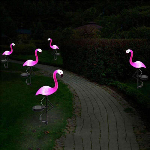 Animal décoratif jardin flamant rose luminescent | Décorations Jardins