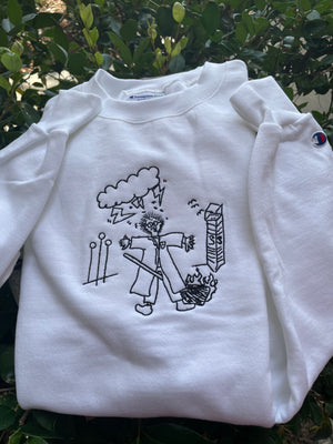 White Draco Drawing Crewneck