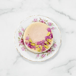 Rose Pistachio Cardamom Cheesecake