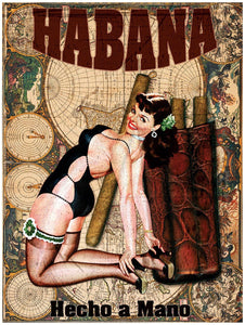 Cuban Cigar Vintage Map Pinup