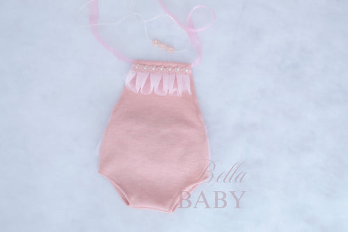 Light pink newborn to sitter romper and headband set. Newborn photography prop. Sitter photo prop.