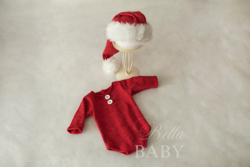 Christmas Little Santa Romper and Sleepy Hat Set
