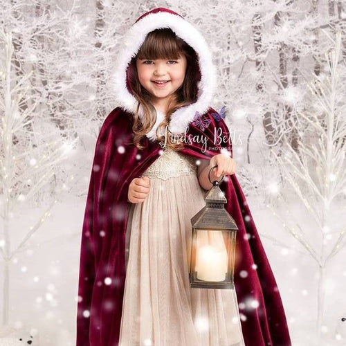 bella-baby-photo-props - Christmas cloak with hood. Velvet cape. Christmas photography prop. Children costume.