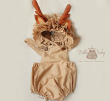 Load image into Gallery viewer, bella-baby-photo-props - Reindeer bonnet and romper. Sitter photo prop.