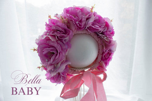 bella-baby-photo-props - Baby flower bonnet. Pink sitter photo prop. Newborn photo outfit.