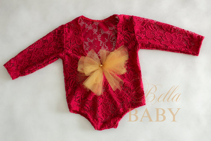 bella-baby-photo-props - Red Christmas romper with open back. Baby photo prop.